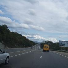 На въезде в город с севера