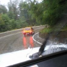Серпантин в дождь - экстрим еще тот...