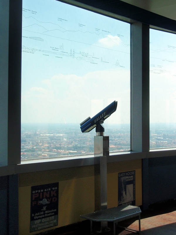 Подзорная труба, а сверу на стекле - описание того, что видно в секторе