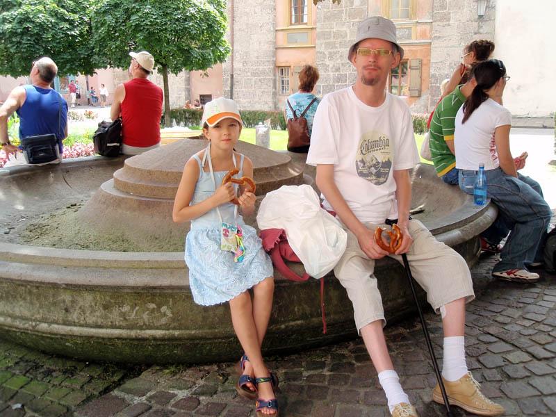 Брецель-брейк у засохшего фонтана