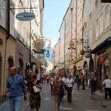 Пешеходная улица Гетрайдегассе (Getreidegasse)